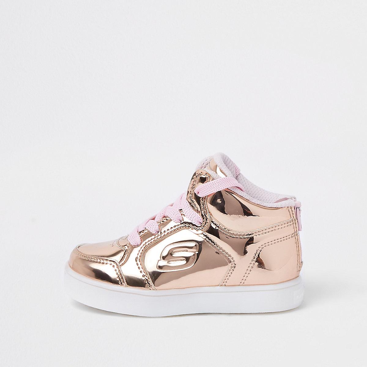 Mini girls Skechers rose gold hi-top sneakers