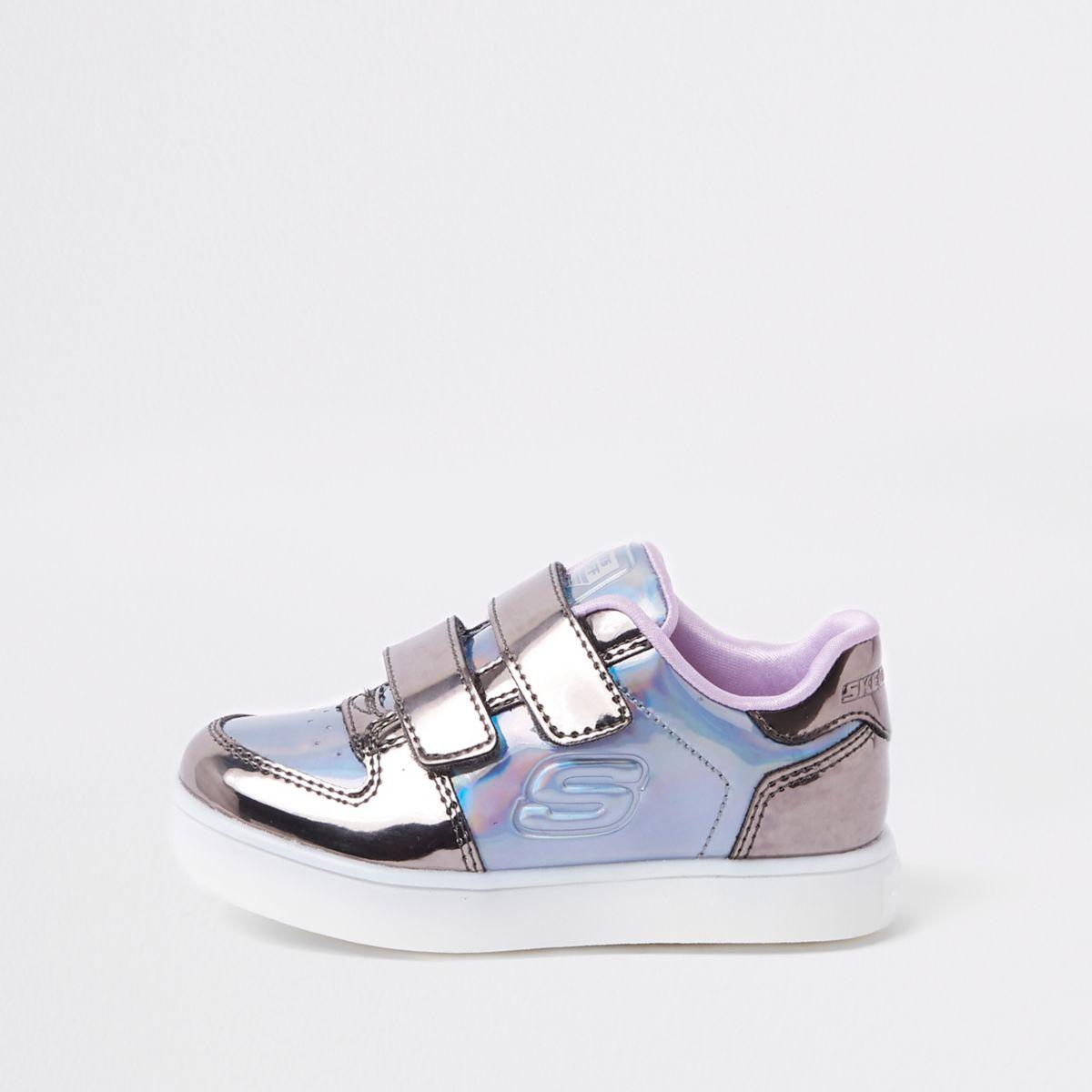 Mini girls Skechers purple light-up sneakers