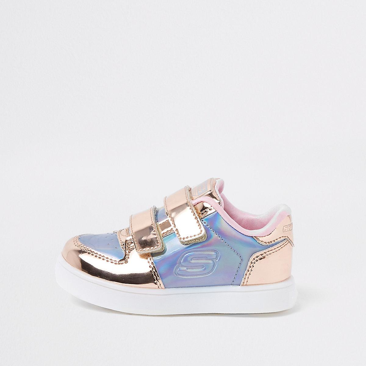 Mini girls Skechers pink metallic sneakers