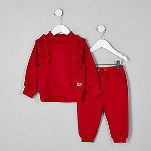 Mini - Outfit met rood sweatshirt met ruches voor meisjes