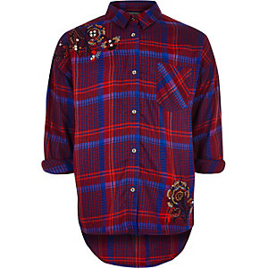 Girls purple embellished check shirt