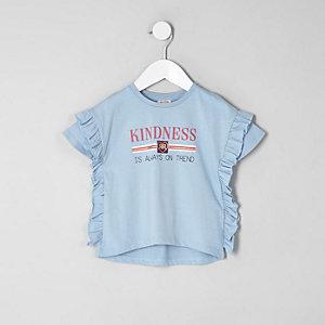 T-shirt bleu à volants sur le côté mini fille