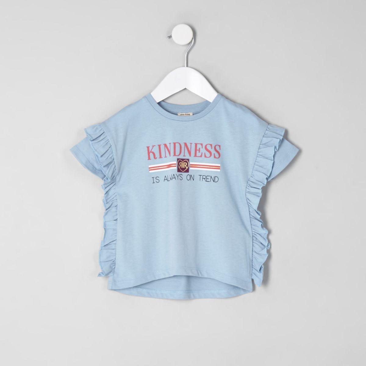 Mini girls blue frill side T-shirt
