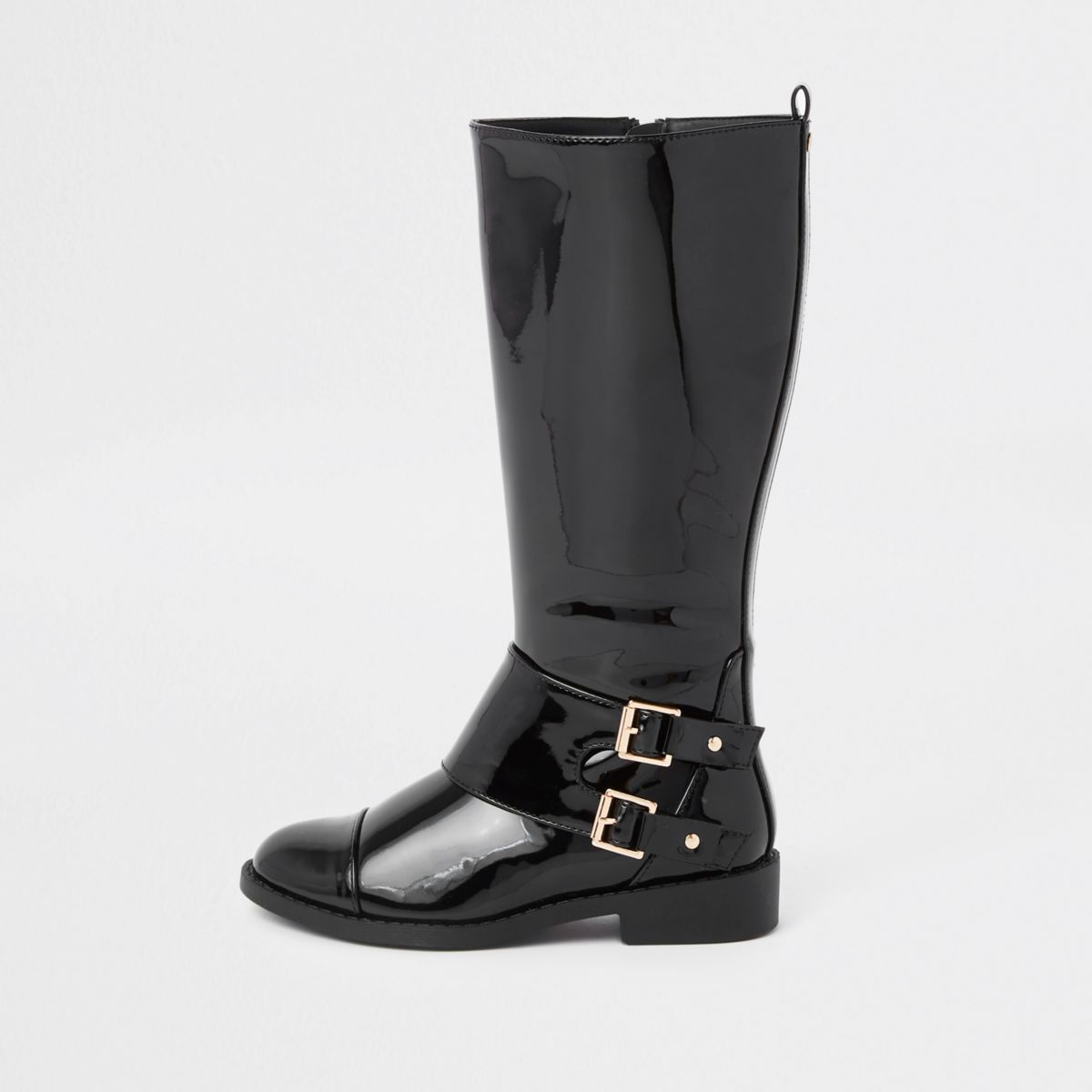 Girls black buckle patent knee high boots