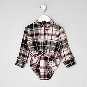 Mini girls pink check boyfriend fit shirt