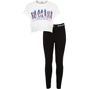 Girls white 'no drama' T-shirt outfit