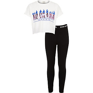 Girls white 'no drama' T-shirt outfit