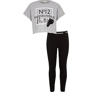 Ensemble avec t-shirt à inscription « Paris » gris pour fille