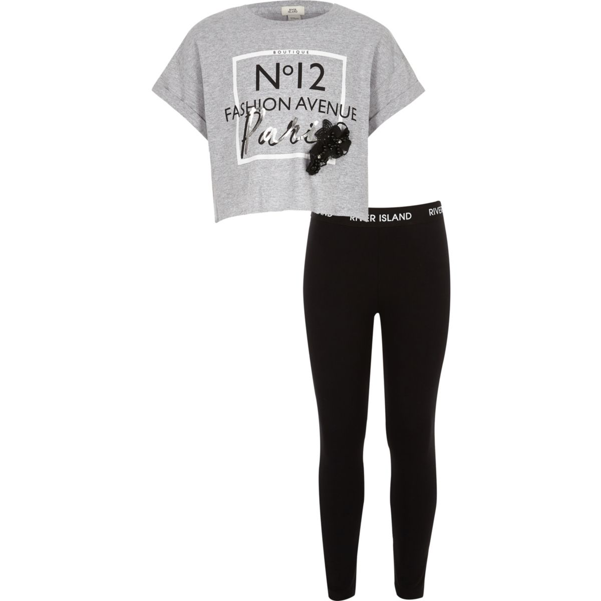 Girls grey 'Paris' T-shirt outfit