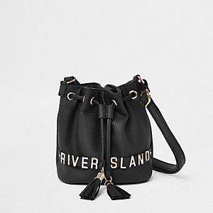 Girls black mini duffle bag