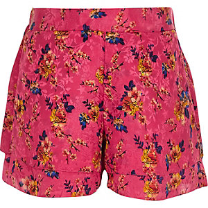 Roze gebloemde jacquard short voor meisjes