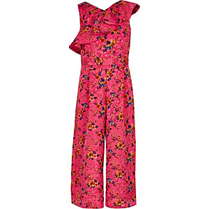 Girls pink floral frill culotte jumpsuit