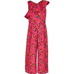 Combinaison jupe-culotte rose à fleurs avec volants pour fille