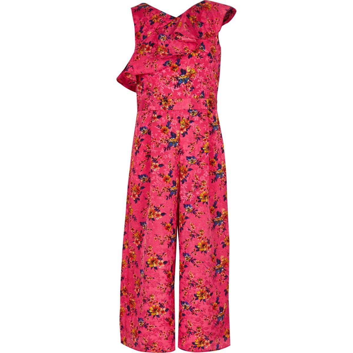 Girls pink floral frill culotte jumpsuit