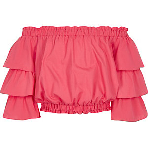 Girls pink frill sleeve bardot top