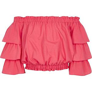 Roze bardottop met ruches aan de mouwen voor meisjes