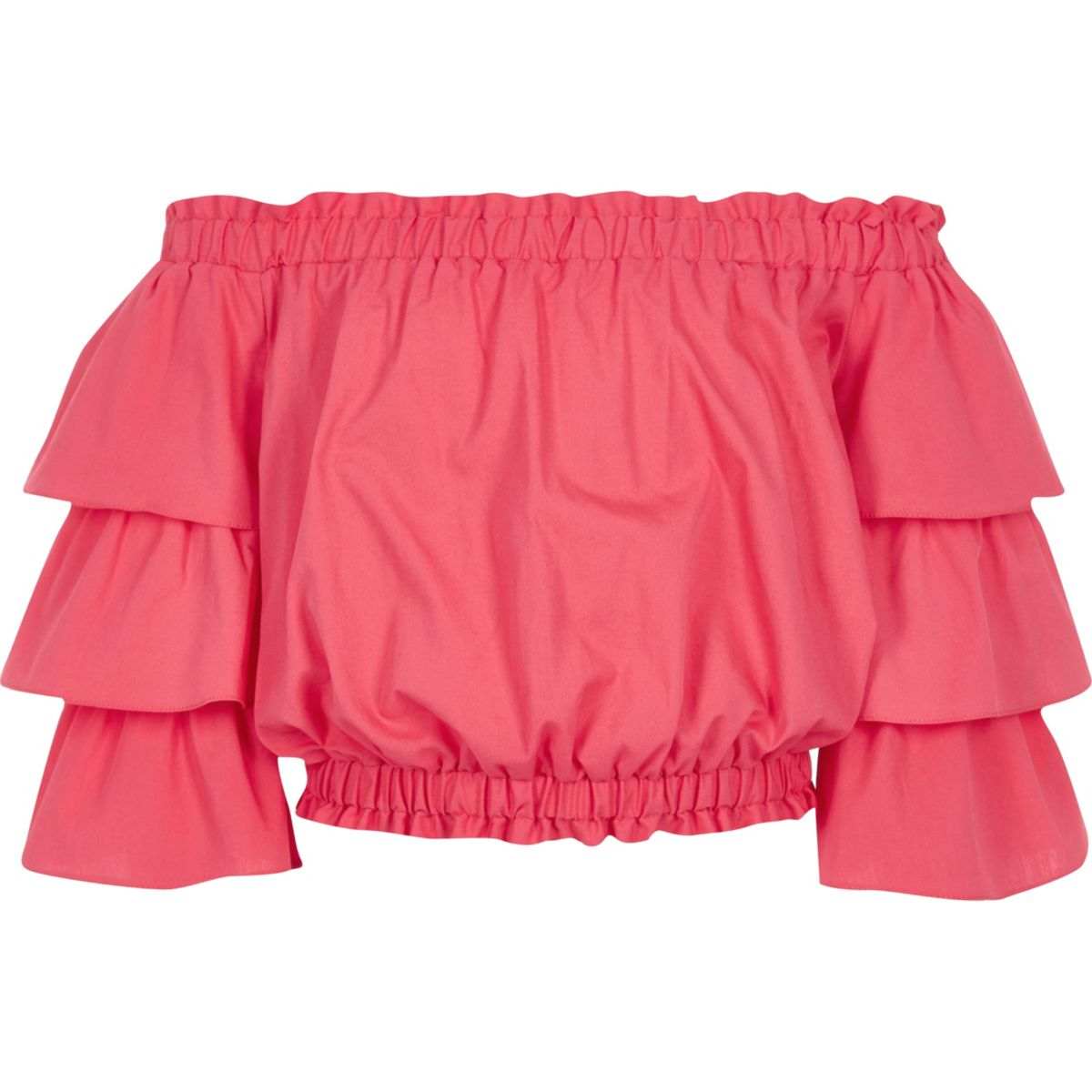 Girls pink frill sleeve bardot top