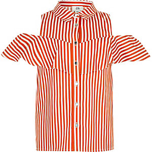 Girls orange stripe frill shirt