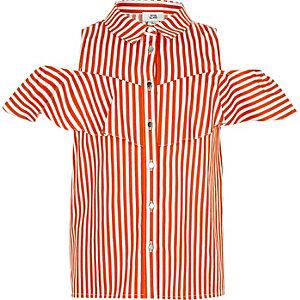 Oranje gestreept overhemd met ruches voor meisjes