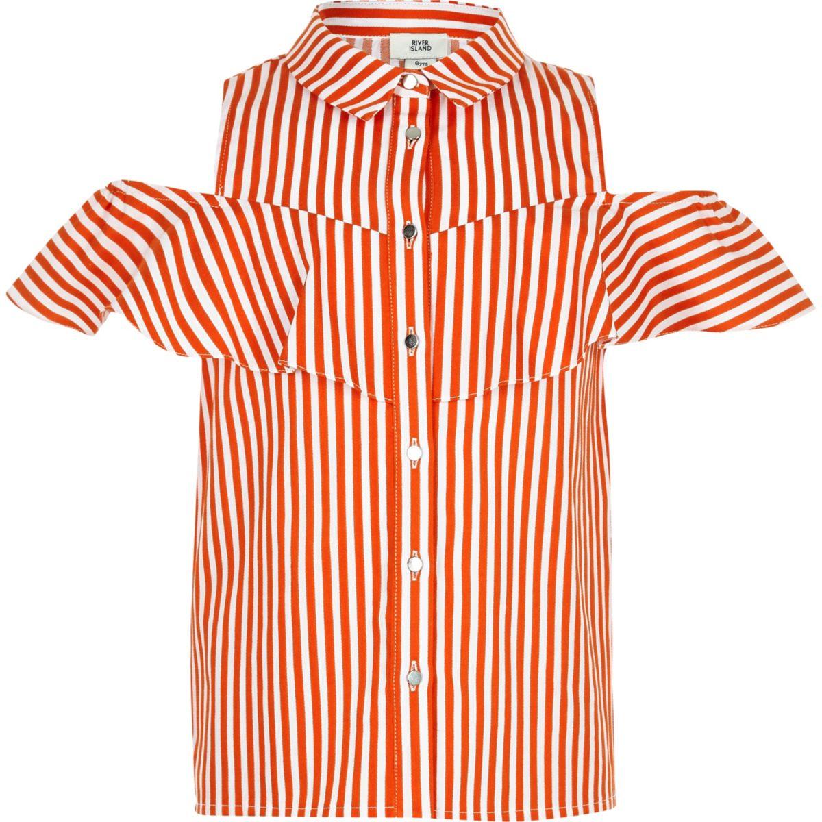Girls orange stripe frill shirt