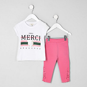 Ensemble avec t-shirt « Merci » blanc mini fille