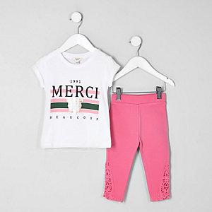 Mini - Outfit met wit T-shirt met 'Merci'-print voor meisjes