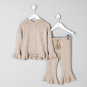 Mini - Bruine geribbelde hoodie met ruches voor meisjes