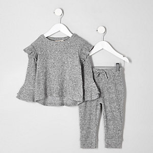 Mini girls grey ribbed frill top outfit