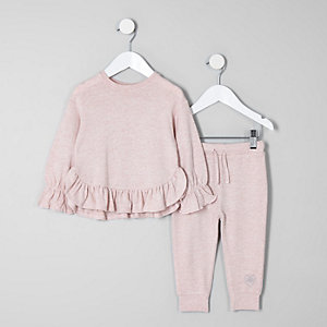 Mini girls pink frill hem jumper outfit