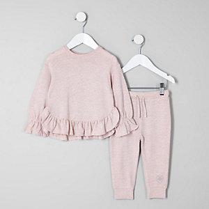 Mini - Outfit met roze pullover met ruches aan de zoom voor meisjes
