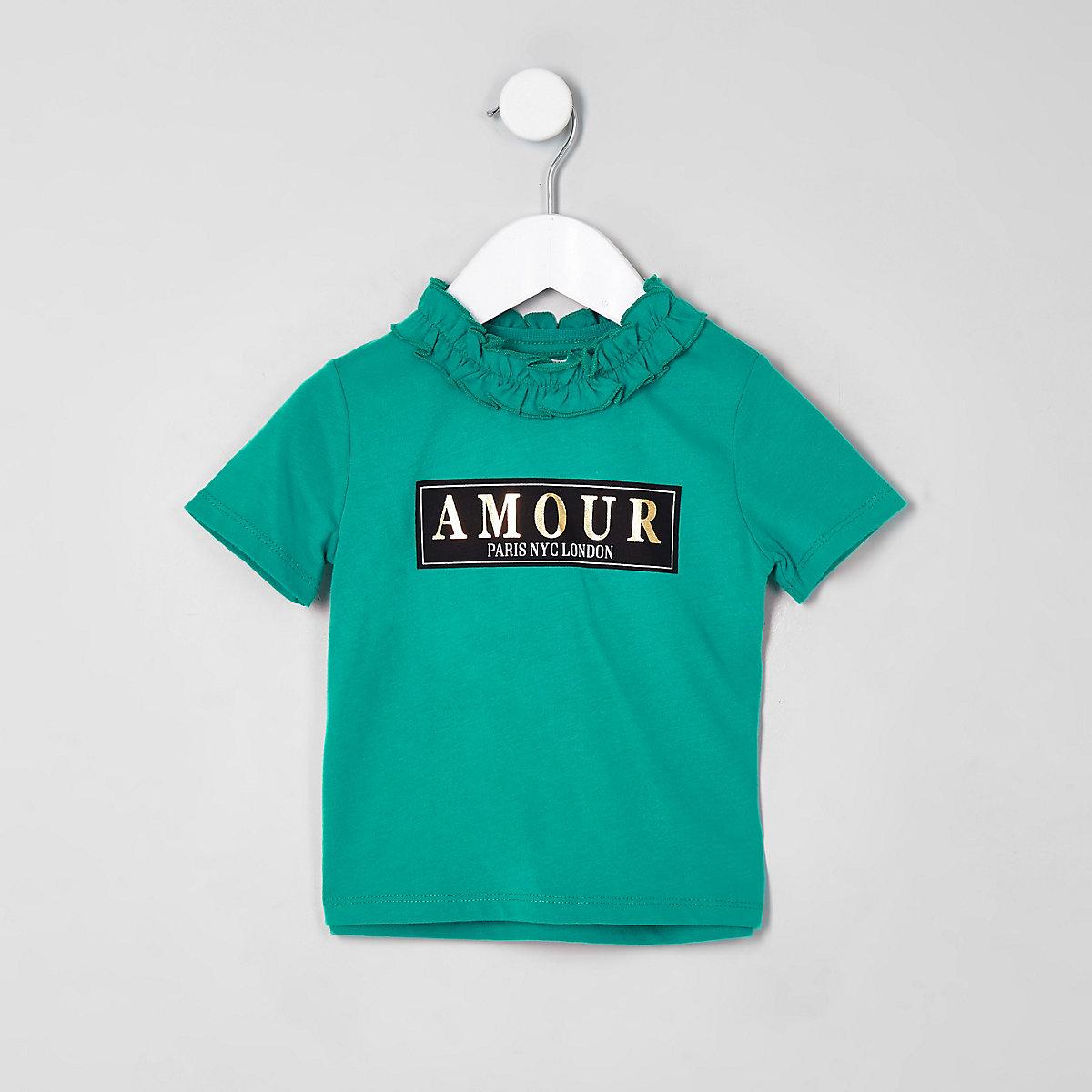 Mini girls green ruffle neck T-shirt