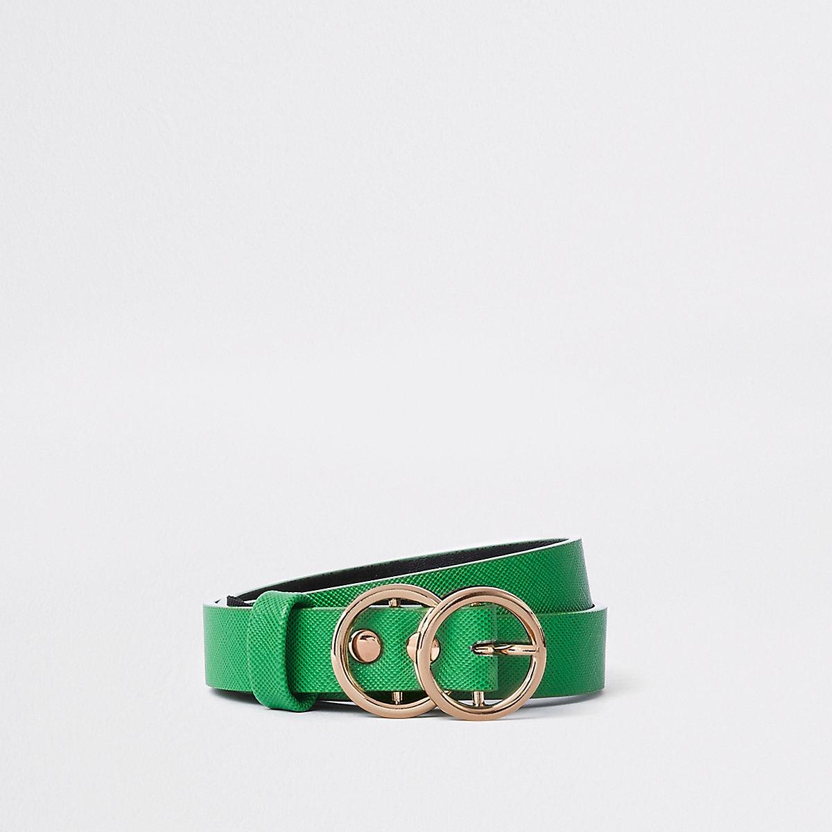 Ceinture verte à deux anneaux pour fille