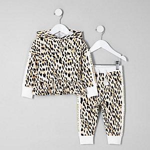 Ensemble avec sweat à capuche imprimé léopard crème mini fille