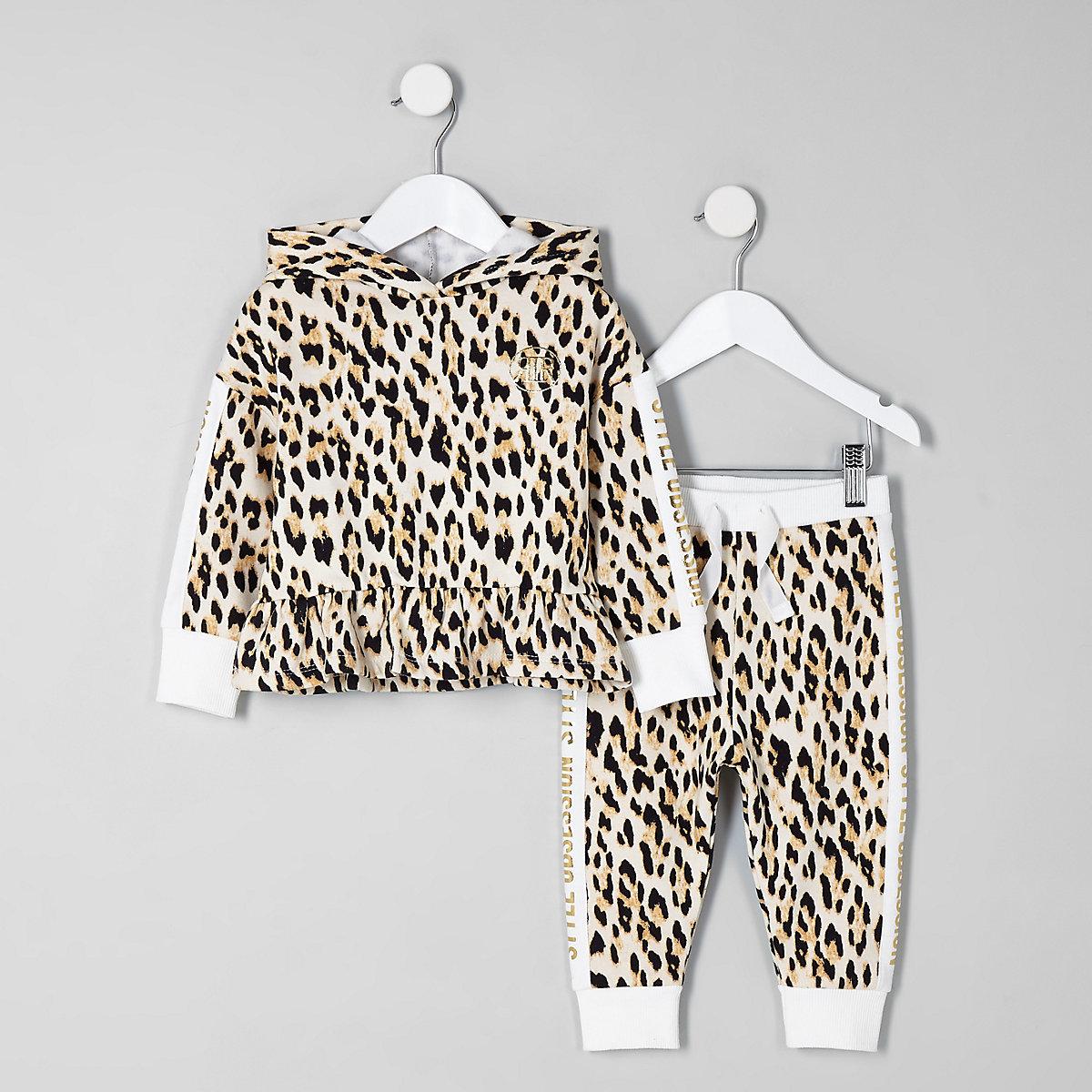 Mini girls cream leopard print hoodie set