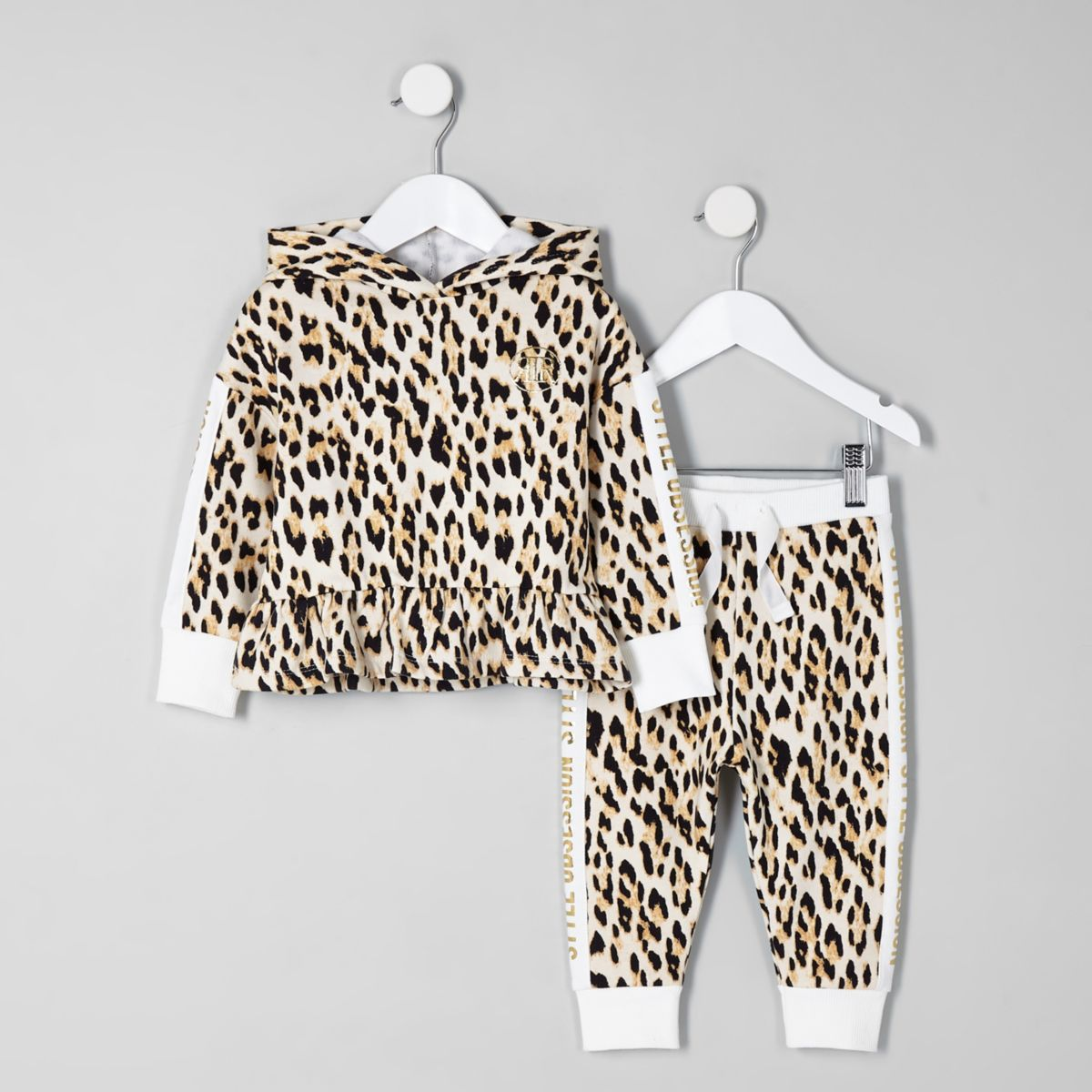 Mini girls cream leopard print hoodie set