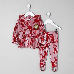Ensemble avec sweat à capuche en velours à fleurs rose mini fille