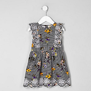 Mini girls blue stripe floral dress
