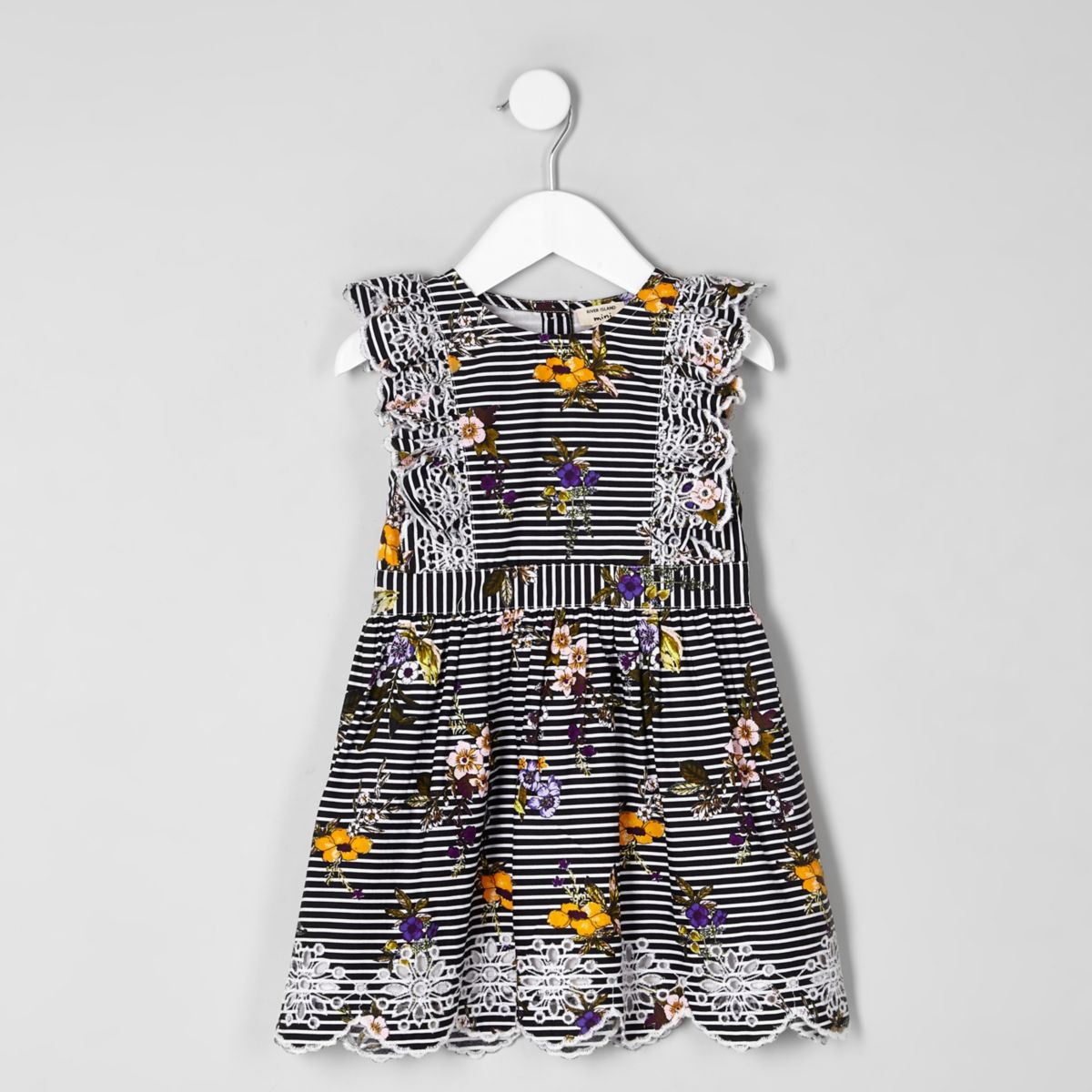 Mini girls blue stripe floral dress