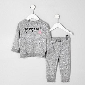 Mini girls grey shirred hem top outfit