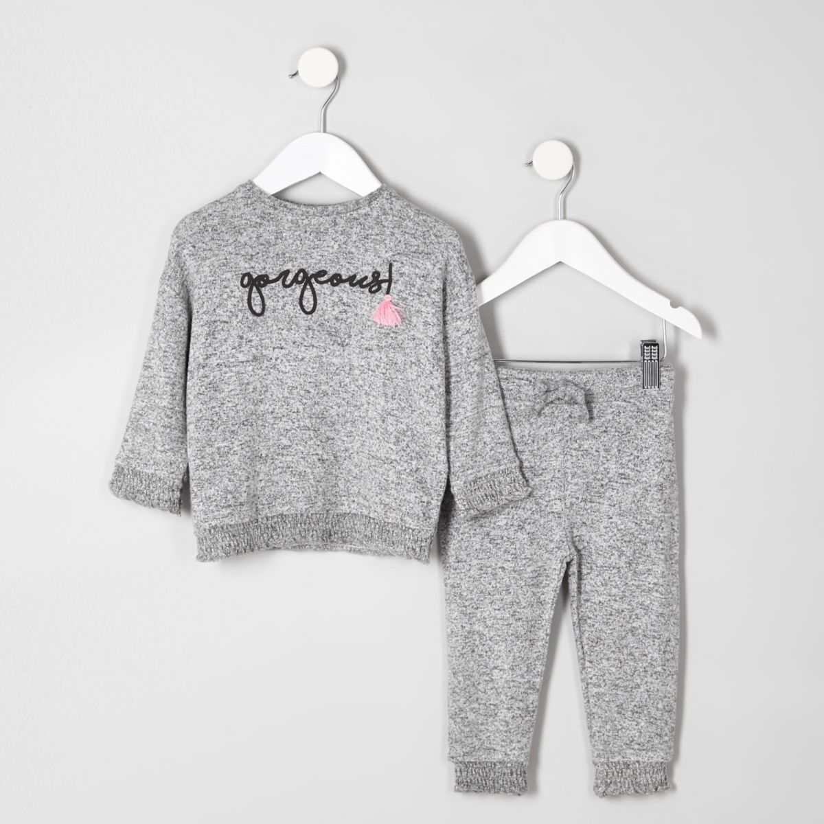Mini girls grey shirred hem top outfit