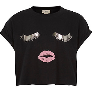 Girls black eyelash print cropped T-shirt