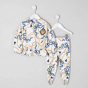 Mini girls chain print hoodie outfit