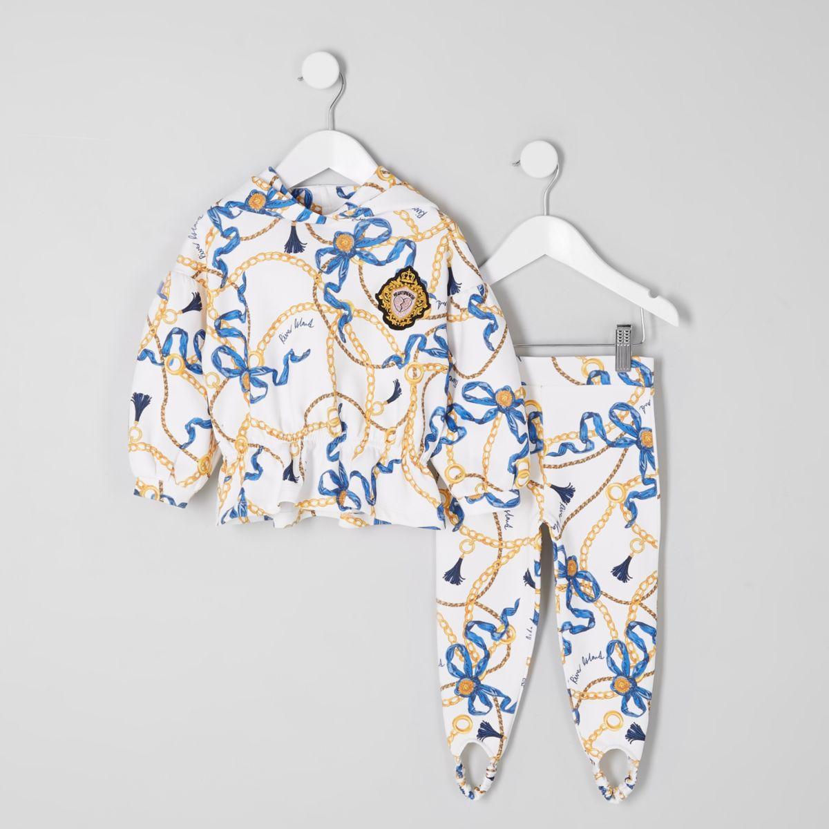 Mini girls chain print hoodie outfit