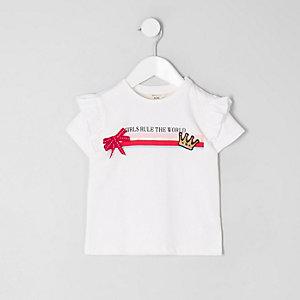 Mini - T-shirt met 'rule the world'-print voor meisjes