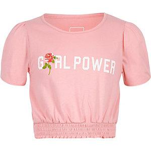 Roze cropped T-shirt met 'girl power'- en rozenprint voor meisjes