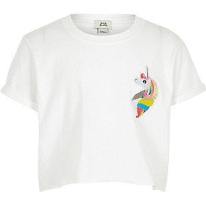 """Weißes, kurzes T-Shirt mit """"magi-cool""""-Einhorndruck"""
