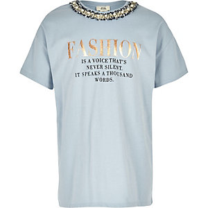 Girls blue 'Fashion' embellished T-shirt
