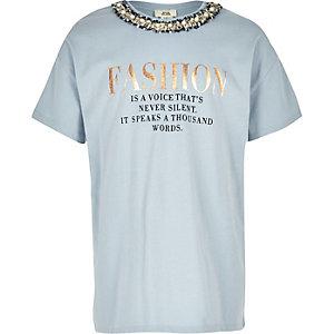 Blauw verfraaid T-shirt met 'Fashion'-print voor meisjes
