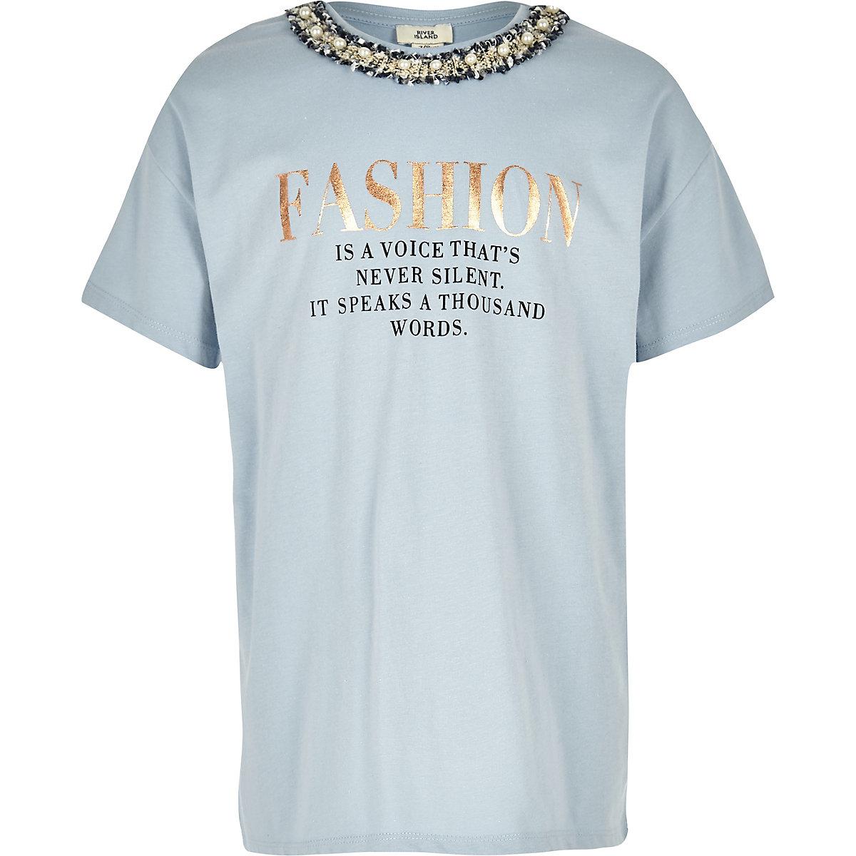 Girls blue 'Fashion' embellished T-shirt