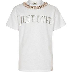 T-shirt blanc à inscription « Just love » pour fille